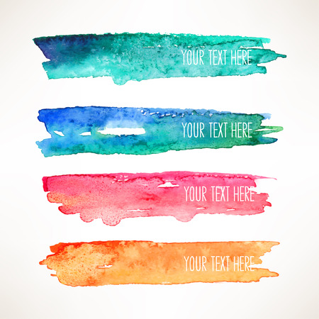 grunge brush: set of four colorful watercolor stroke backgrounds