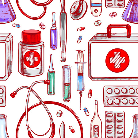 ampule: seamless background with medical supplies. hand-drawn illustration