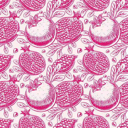 seamless background delicious ripe sketch pomegranate. hand-drawn illustration Vector
