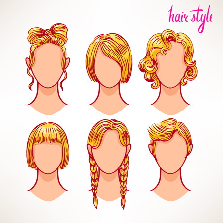 long straight hair: set with different hairstyles. blonde. hand-drawn illustration - 2 Illustration