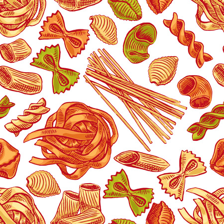 seamless background with various kinds of pasta. hand-drawn illustration - 2