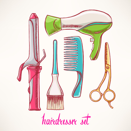 hairdressing scissors: Set with accessories hairdressing. hand-drawn illustration - 2
