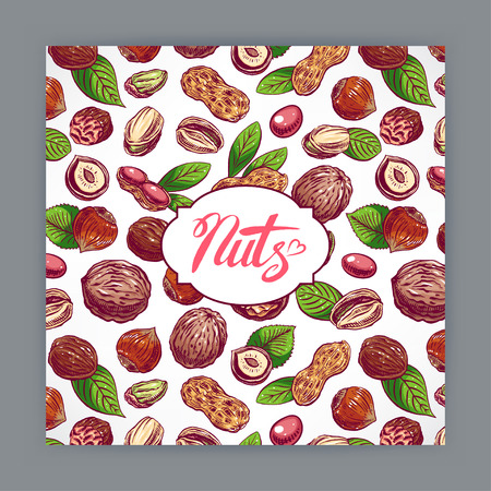 nutty: cute card with nuts and leaves. hand-drawn illustration Illustration