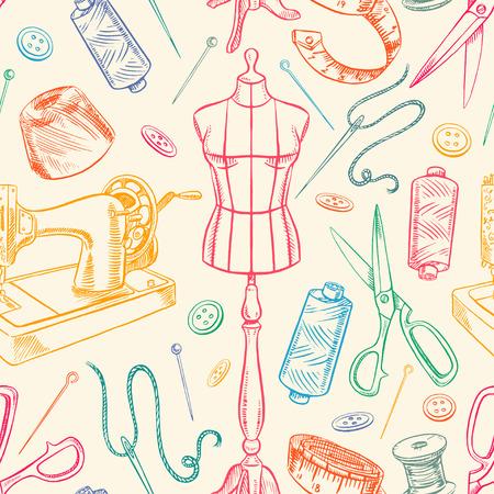 화려한 스케치 재봉 장비와 원활한 배경입니다. 마네킹, 봉제, 재봉틀. 손으로 그린 그림 일러스트