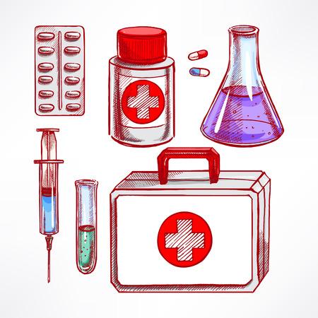 medical supplies: Set with sketch medical supplies. pills, syringe, bulb. hand-drawn illustration Illustration