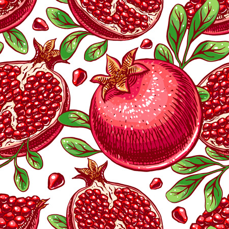 seamless background delicious ripe sketch pomegranate. hand-drawn illustration