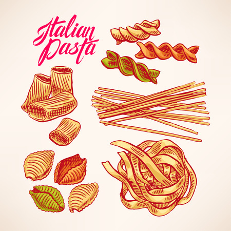 set with different kinds of pasta. hand-drawn illustration