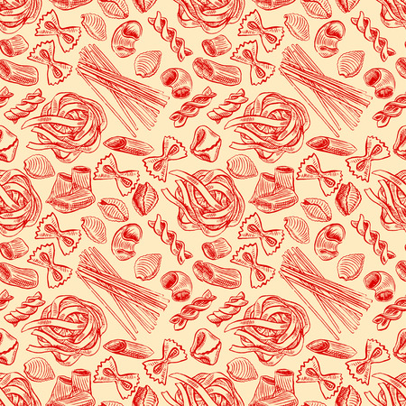 seamless background with various kinds of sketch pasta. hand-drawn illustration