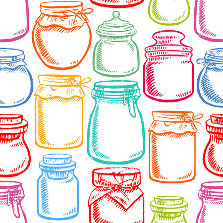 seamless hand-drawn mason jars with colorful contents - 2