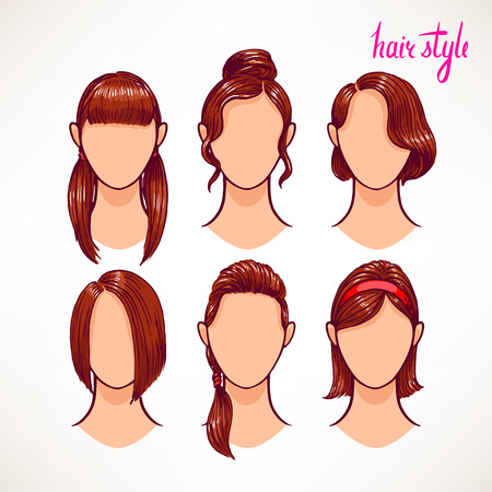 set with different hairstyles. brunette. hand-drawn illustration - 2 Vector