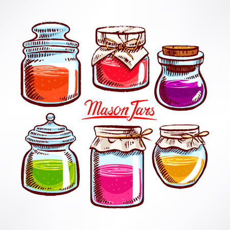 hand-drawn mason jars with colorful contents - 2