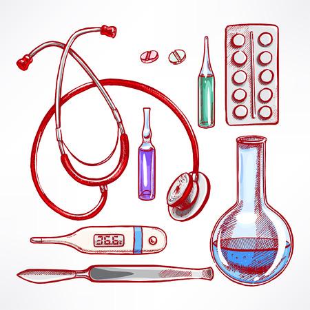 estetoscopio: Establecer con suministros médicos de boceto. bisturí, estetoscopio, bombilla. ilustración de mano
