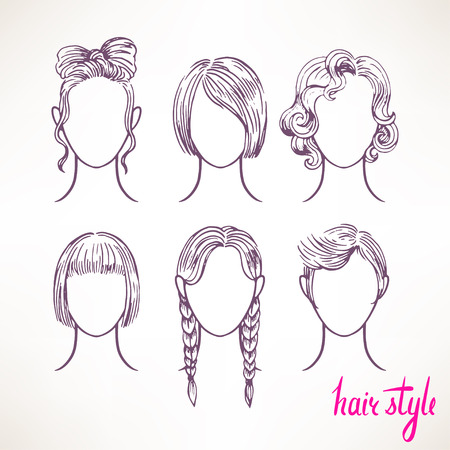 long straight hair: set with different hairstyles. hand-drawn illustration - 2