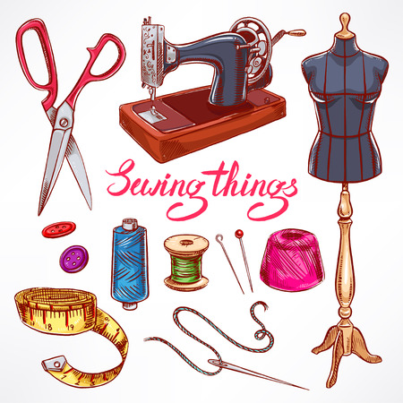 sewing machine: Set with sketch tailoring equipment. mannequin, sewing, sewing machine. hand-drawn illustration