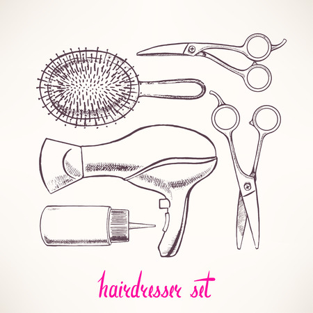 Set with accessories hairdressing. hand-drawn illustration - 2