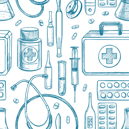 medical supplies: seamless background with sketch medical supplies. hand-drawn illustration Illustration