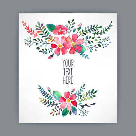 Beautiful greeting card with watercolor flowers and place for text - 4 向量圖像