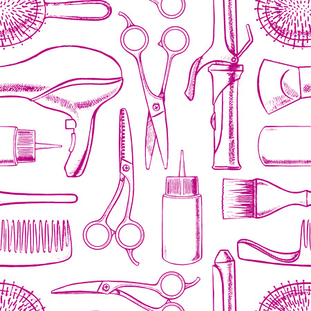 seamless background with sketch hairdressing equipment. hand-drawn illustration