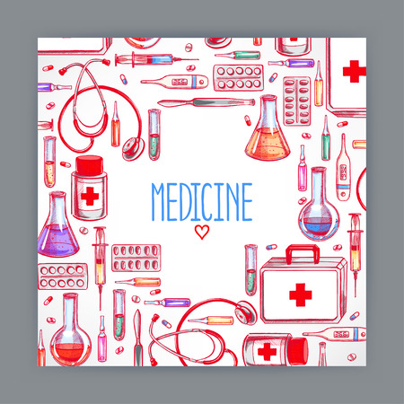 ampule: cute greeting card with medical supplies. hand-drawn illustration