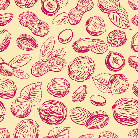 nutmeg: seamless background with a different nuts. hand-drawn illustration