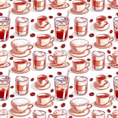 シームレスな背景でコーヒーとコーヒー豆のカップの異なる。手描きイラスト 写真素材 - 38194175