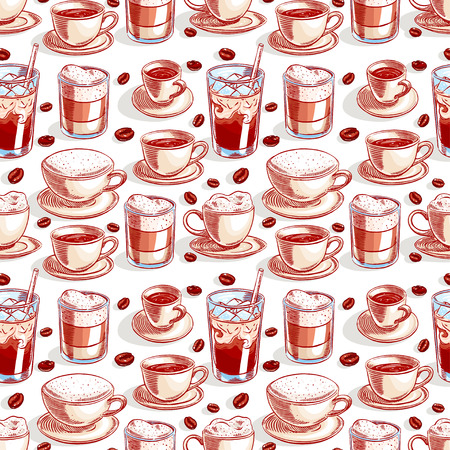 seamless background with different of cups of coffee and coffee beans. hand-drawn illustration