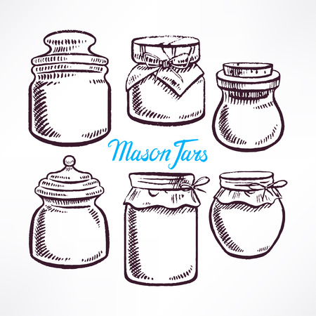 sketch different shape mason jars. hand-drawn illustration Illustration