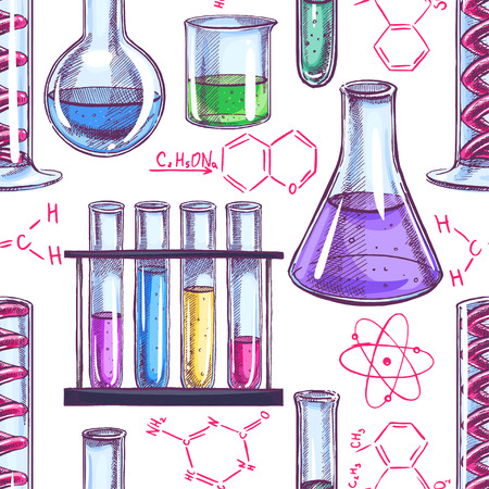 chemical equipment: seamless background with chemical equipment and formulas. hand-drawn illustration Illustration