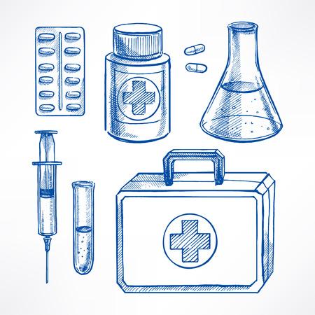 pastillas: Establecer con suministros médicos de boceto. píldoras, jeringuilla, bombilla. ilustración de mano
