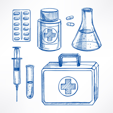 doctors with pills: Set with sketch medical supplies. pills, syringe, bulb. hand-drawn illustration Illustration