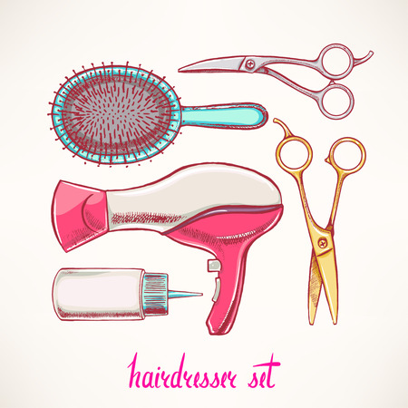 hairdressing accessories: Set with colorful accessories hairdressing. hand-drawn illustration
