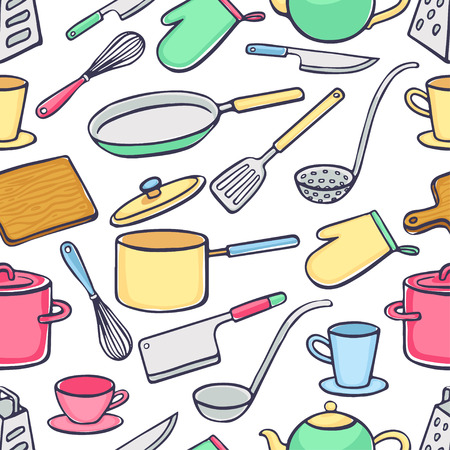 ladle: Seamless background with kitchen utensils. pans, knives, ladle. hand-drawn illustration