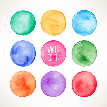 set of nine colorful watercolor round spots