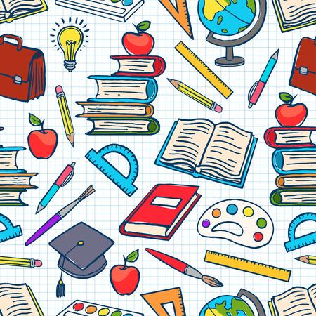 enfant fond coloré avec des fournitures scolaires. Globe, peintures et pinceaux, livres. illustration dessinée à la main Vecteurs