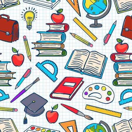 child colored background with school supplies. Globe, paints and brushes, books. hand-drawn illustration Stock Illustratie