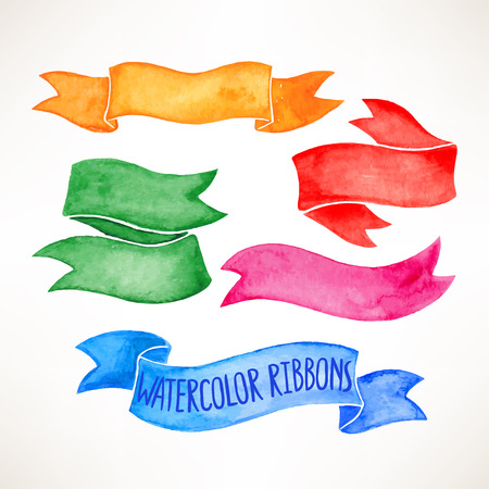 set with beautiful colorful watercolor ribbon banners. hand-drawn illustration