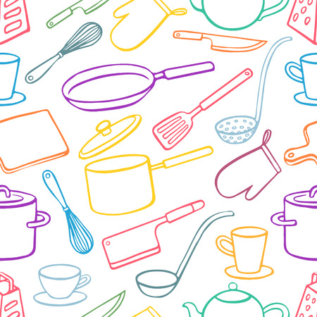 pans: Seamless background with kitchen utensils. pans, knives, ladle. hand-drawn illustration - 2
