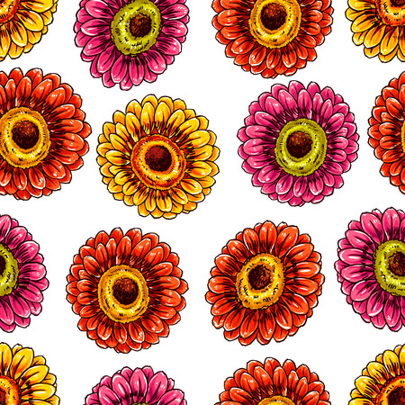 orange gerbera: Beautiful seamless background with blooming gerberas. hand-drawn illustration