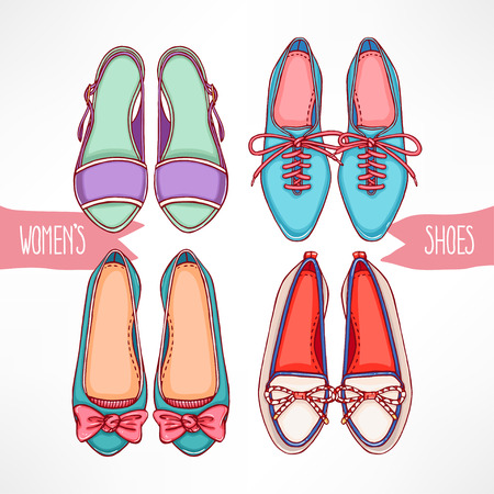 Set with different hand-drawn shoes on a white background Vector