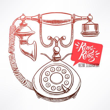 vintage telefoon: mooie vintage telefoon. met de hand getekende illustratie Stock Illustratie