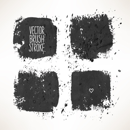 Set with four black stroke backgrounds. hand-drawn illustration Vector