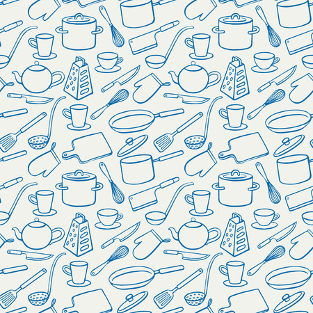 pans: Seamless background with blue kitchen utensils. pans, knives, ladle. hand-drawn illustration