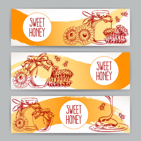 honey: set af tree horizontal honey banners. jars of honey, bees, honeycomb. hand-drawn illustration - 2 Illustration