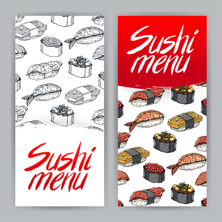 two cute covers for sushi menu. hand-drawn illustration - 2 版權商用圖片 - 39267213