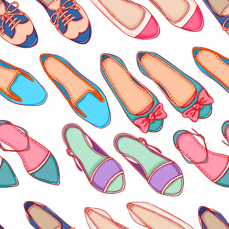 Seamless background with different colored shoes on a white background Vector
