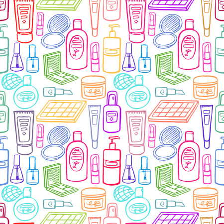seamless background with a variety of products for beauty and body care. hand-drawn illustration