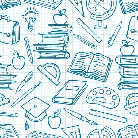 escuelas: niño fondo azul con útiles escolares. Globe, pinturas y pinceles, libros. ilustración de mano