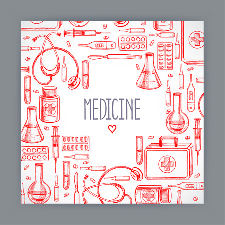 medical supplies: cute greeting card with medical supplies. hand-drawn illustration
