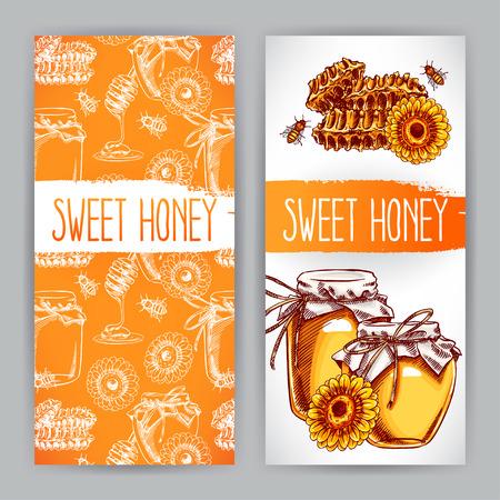 두 개의 수직 꿀 배너입니다. 꿀, 꿀벌, 벌집의 항아리. 손으로 그린 그림