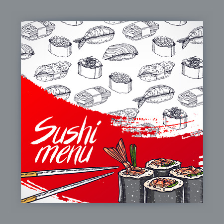 sushi roll: cute cover for sushi menu. hand-drawn illustration - 2